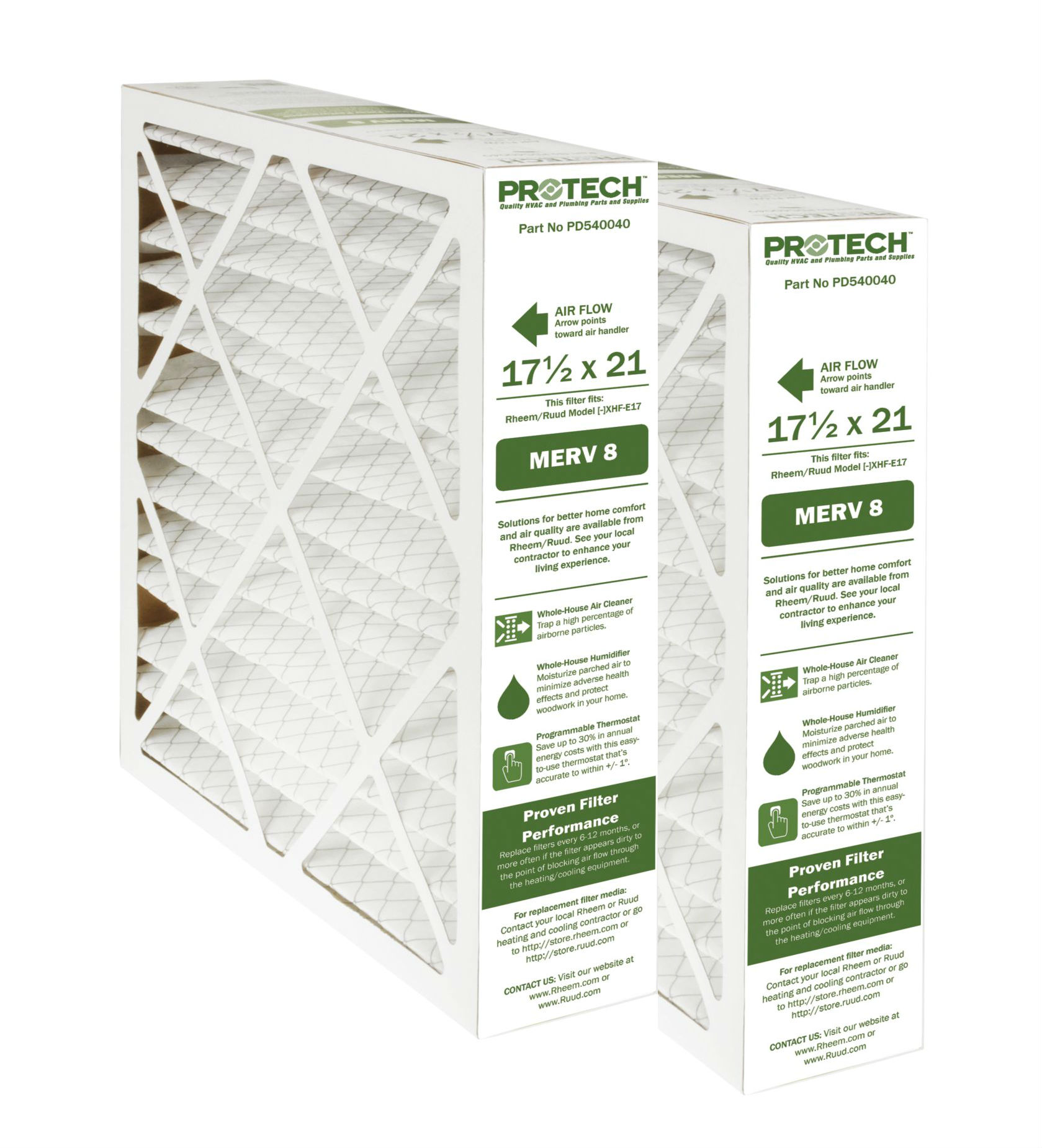 Protech MERV 8 Rheem-Ruud Replacement Filter 540040 2 Pk