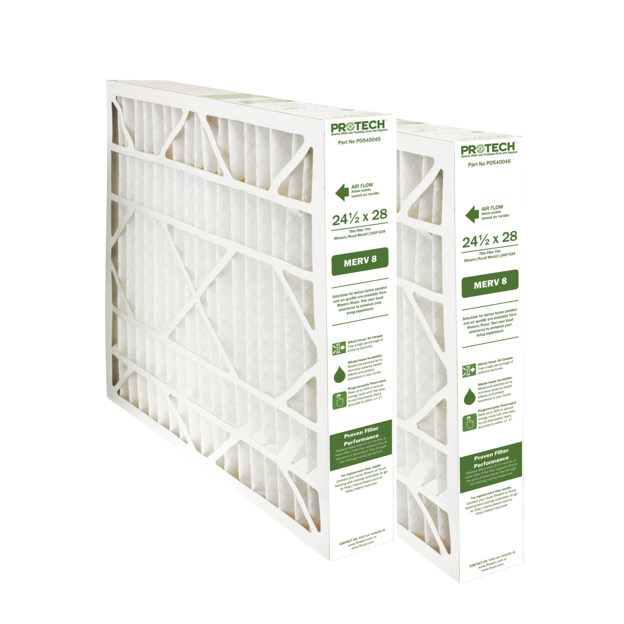 Protech MERV 8 Rheem-Ruud Replacement Filter 540045 2 Pk