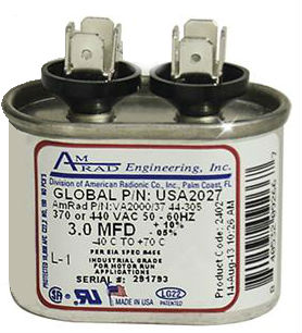 USA Made 3 mfd Motor Run Capacitor Oval 370/440 Volt USA2027