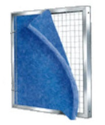 Metal Filter Frame with 6 Blue/White Pads 13 x 21-1/2 x 1